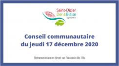 Conseil communautaire du jeudi 17 décembre 2020