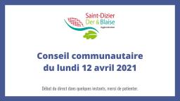 Conseil communautaire du lundi 12 avril 2021