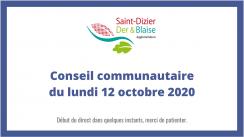 Communauté d'agglomération Saint-Dizier, Der & Blaise - Conseil communautaire du 12 octobre 2020