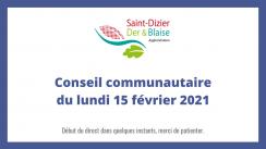 Conseil communautaire du lundi 15 février 2021