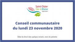 Conseil communautaire du lundi 23 novembre 2020