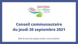 Conseil communautaire du jeudi 30 septembre 2021